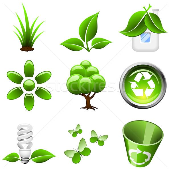Environmental green icons isolated on white background. Stock photo © tuulijumala