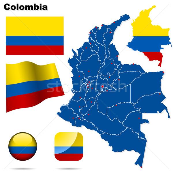 Сток-фото: Колумбия · вектора · набор · подробный · стране · форма