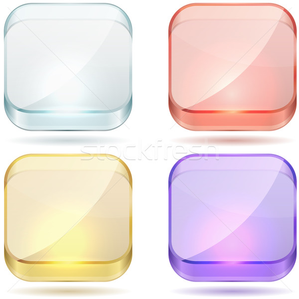 Bright color glass rounded square buttons. Stock photo © tuulijumala
