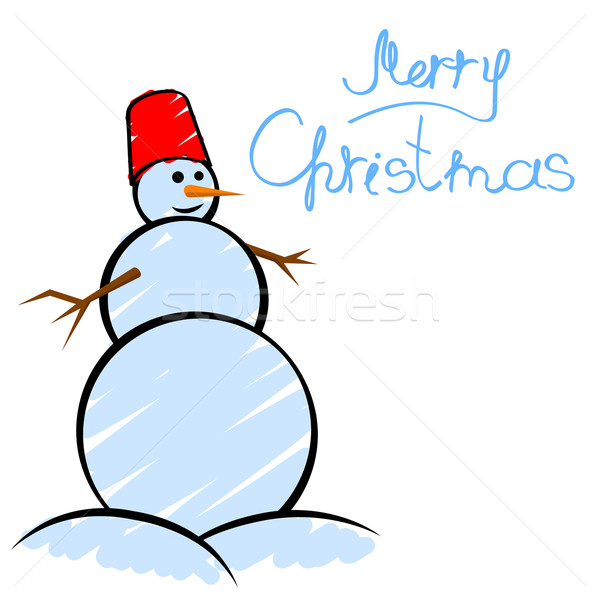 Christmas Card Drawing.Christmas Greeting Card With Smiling Snowman In Child S