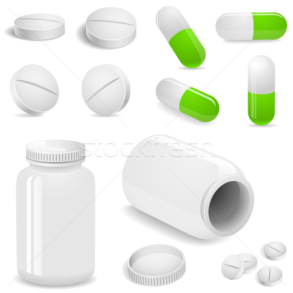 Tablets and pills vector set isolated on white background. Stock photo © tuulijumala