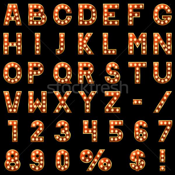 Show lampade rosso alfabeto isolato nero Foto d'archivio © tuulijumala