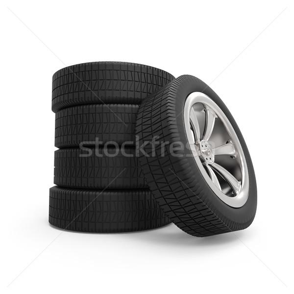 Auto wielen geïsoleerd witte textuur Stockfoto © tuulijumala