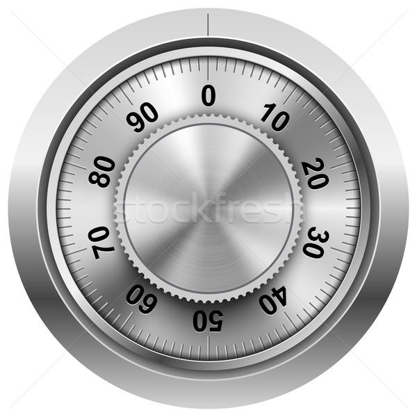Chrome safe combination lock wheel vector template. Stock photo © tuulijumala