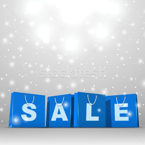 Weihnachten Verkauf blau Papier Einkaufstaschen Vektor Stock foto © tuulijumala