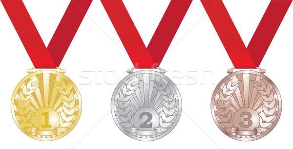 Három medálok izolált fehér arany siker Stock fotó © tuulijumala