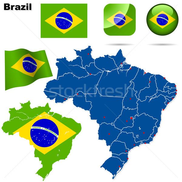 Сток-фото: Бразилия · вектора · набор · подробный · стране · форма