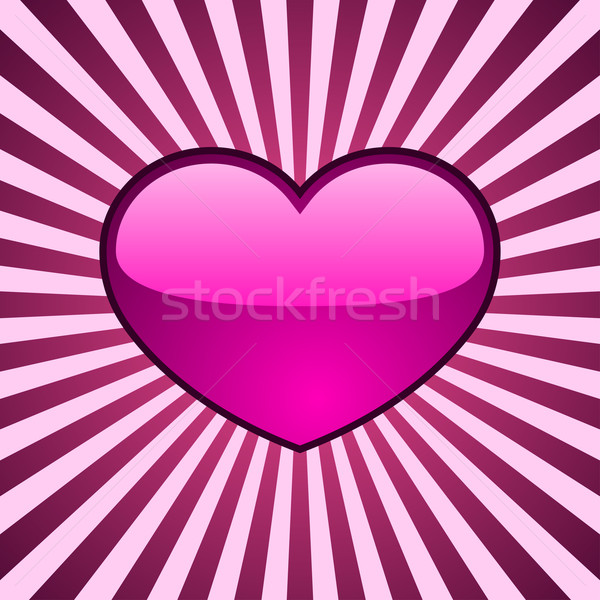 Vector background with glossy pink heart over radial stripes. Stock photo © tuulijumala