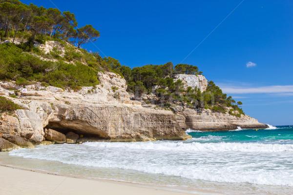 Mediterranean sea cliffs at Cala Mitjana beach at Menorca island Stock photo © tuulijumala