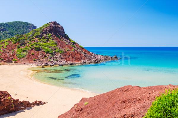 Cala del Pilar beach scenery in sunny day at Menorca, Spain. Stock photo © tuulijumala