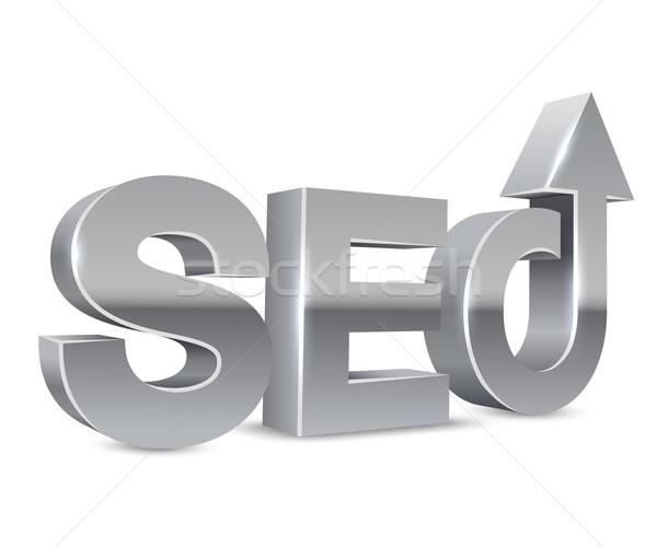 SEO chrome 3D letters concept isolated on white background. Stock photo © tuulijumala