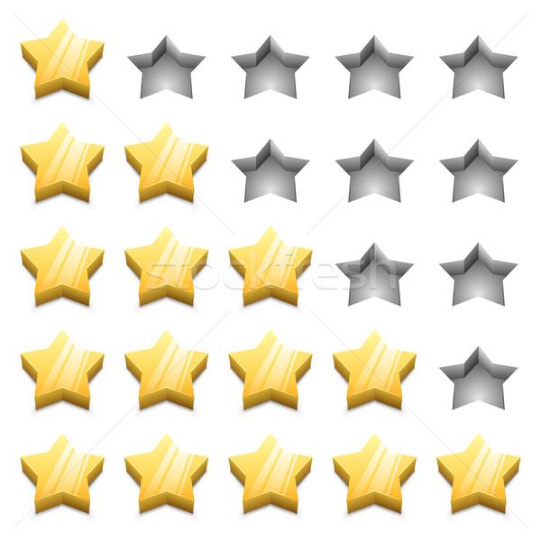3D citromsárga rangsor csillagok vektor sablon Stock fotó © tuulijumala