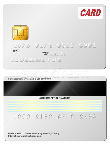 Blank credit card vector template. Front and back view. Stock photo © tuulijumala
