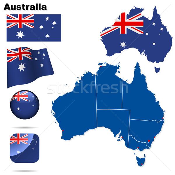 Australië vector ingesteld gedetailleerd land vorm Stockfoto © tuulijumala