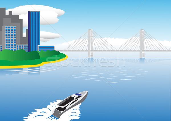 Motorówka żeglarstwo most miasta niebo Zdjęcia stock © tuulijumala