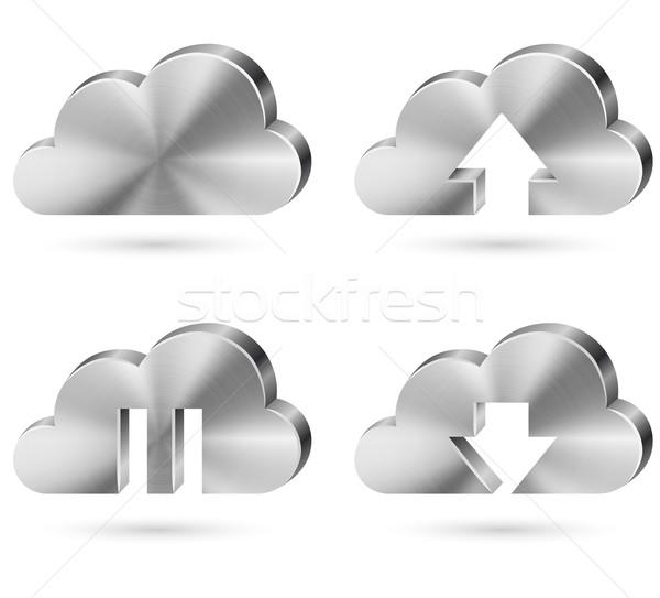 Metal chmura icon wektora zestaw odizolowany biały Zdjęcia stock © tuulijumala