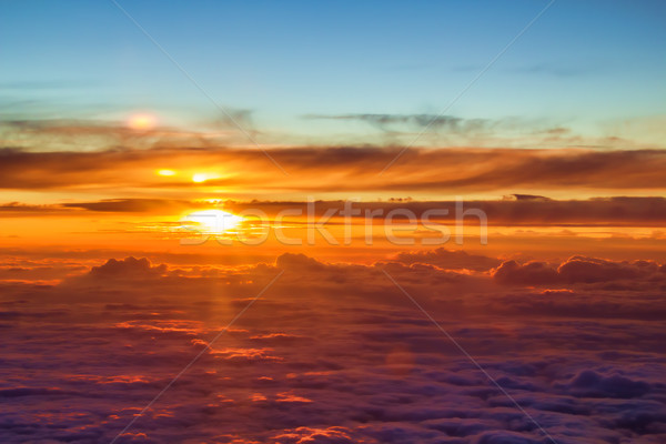 Mooie oranje zonsondergang wolken zon natuur Stockfoto © tuulijumala