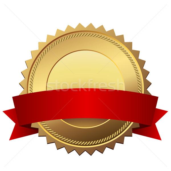 Arany minőség címke piros szalag vektor Stock fotó © tuulijumala