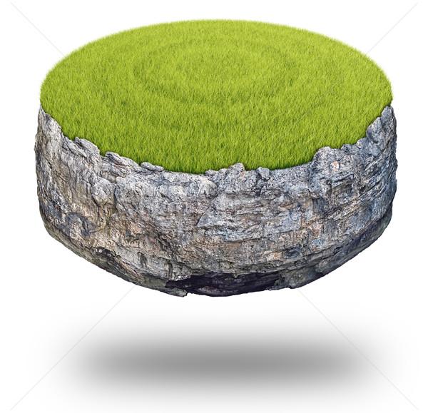 Zdjęcia stock: Streszczenie · rock · wyspa · pokryty · zielona · trawa · odizolowany