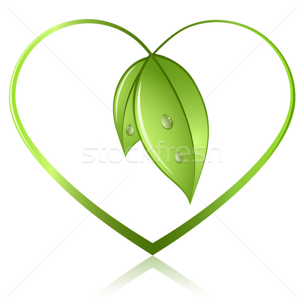 Green sprouts in shape of heart isolated on white background. Ec Stock photo © tuulijumala