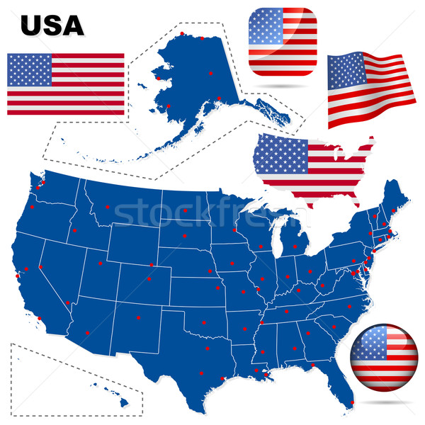 USA vector set. Detailed country shape with region borders, flag Stock photo © tuulijumala