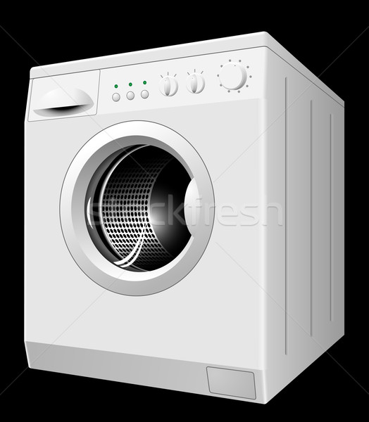 Stock photo: Vector illustration of new white washing machine isolated on bla
