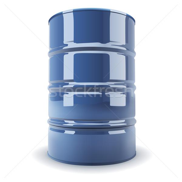 Blauw standaard metaal vat geïsoleerd witte Stockfoto © tuulijumala