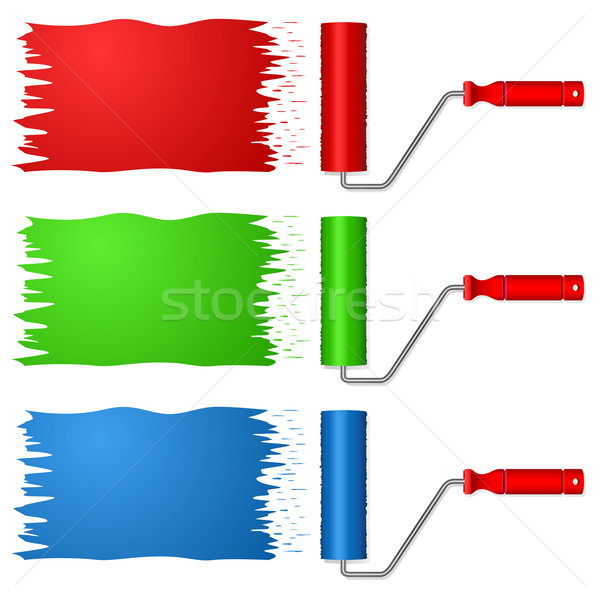 Paint roller in three color variants. Stock photo © tuulijumala