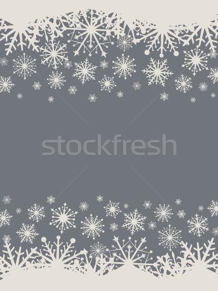 Dark grey and white Christmas snowflake banner Stock photo © tuulijumala