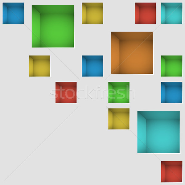 White wall with color square deepenings modern vector background Stock photo © tuulijumala