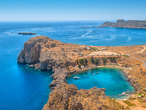 View on the Mediterranean sea from ancient Lindos ruins at Rhode Stock photo © tuulijumala