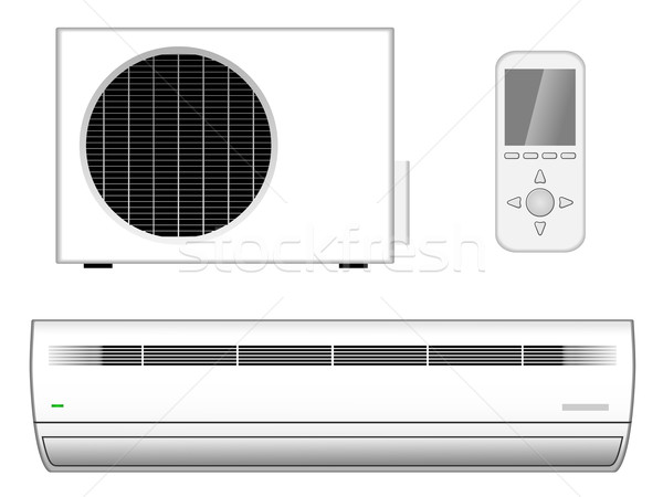 Vector illustration of new modern air-conditioner with outside p Stock photo © tuulijumala