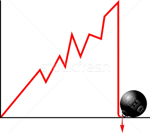 Bankruptcy because of debt concept.  Crashed down graph fastened Stock photo © tuulijumala