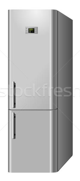 New modern domestic  electric refrigerator isolated on white bac Stock photo © tuulijumala
