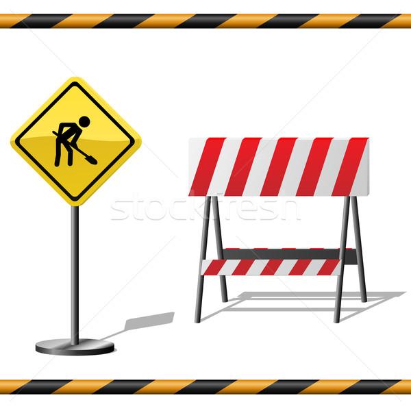 Under construction vector template with warning road sign, barri Stock photo © tuulijumala