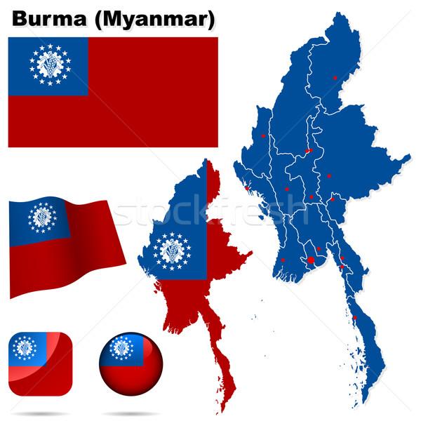 Birma Myanmar vector ingesteld gedetailleerd land Stockfoto © tuulijumala