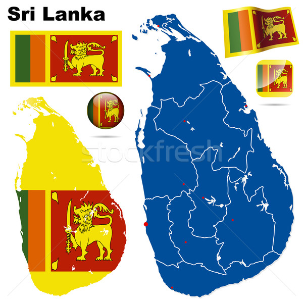 Sri Lanka vector establecer detallado país forma Foto stock © tuulijumala