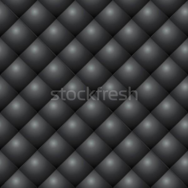 Seamless black diamond stitched leather vector texture. Stock photo © tuulijumala