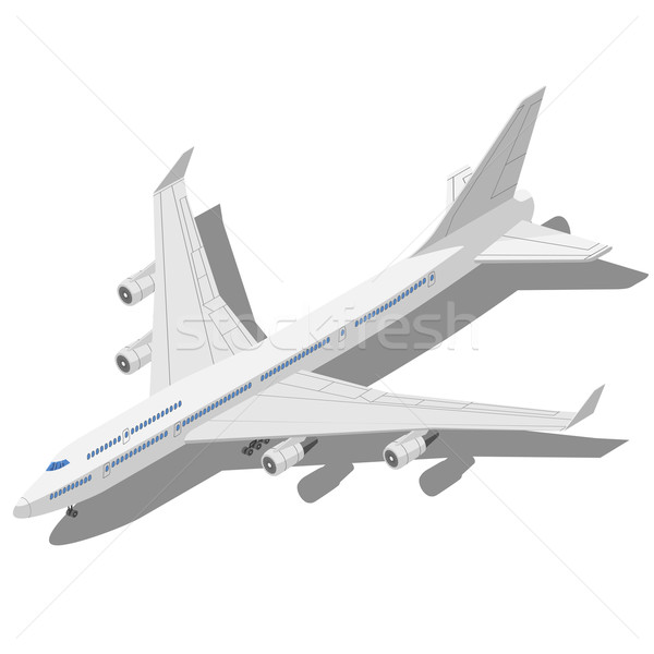 Civil aircraft Isometric vector illustration isolated on white b Stock photo © tuulijumala