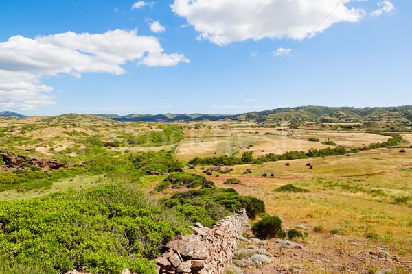 Foto stock: Ilha · campo · paisagem · velho · tradicional · alvenaria