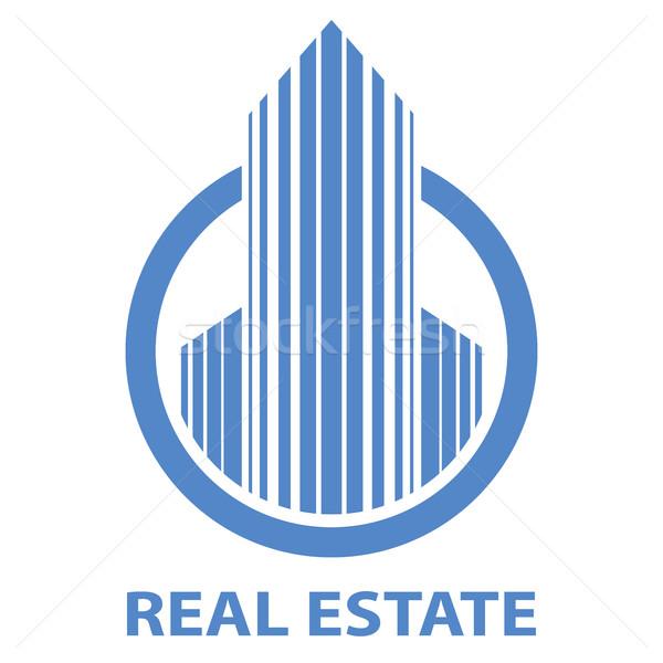 Blue real estate emblem vector template isolated on white backgr Stock photo © tuulijumala