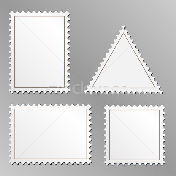 Vector set of blank postage stamps isolated on grey background. Stock photo © tuulijumala