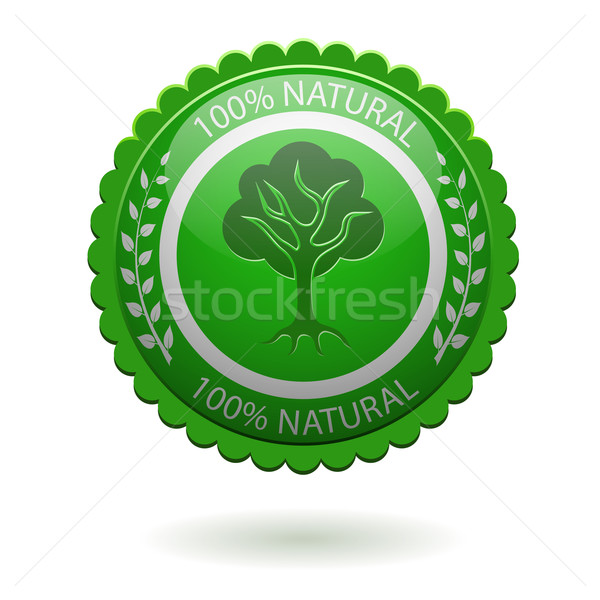 100 természetes zöld címke izolált fehér Stock fotó © tuulijumala