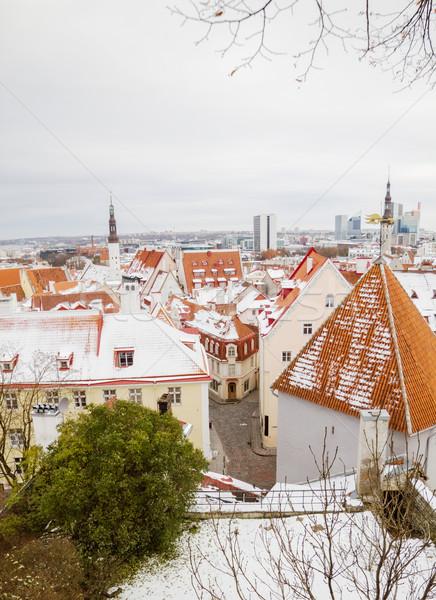 Tallinn città vecchia argilla piastrelle tetti inverno Foto d'archivio © tuulijumala