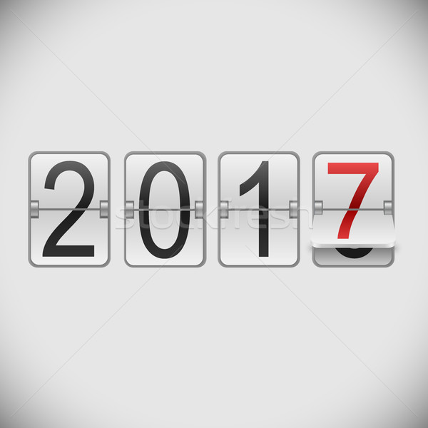 White mechanical scoreboard 2017 New Year vector template. Stock photo © tuulijumala