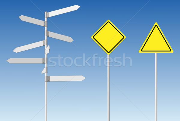 Choice and warning concept. Blank direction signpost and guard r Stock photo © tuulijumala