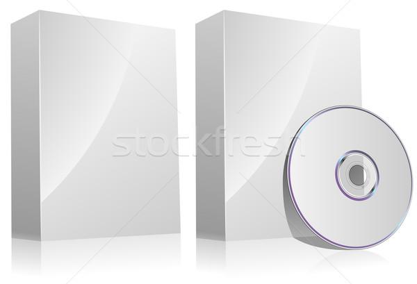 Stok fotoğraf: Yazılım · kutu · disk · yalıtılmış · beyaz · iş