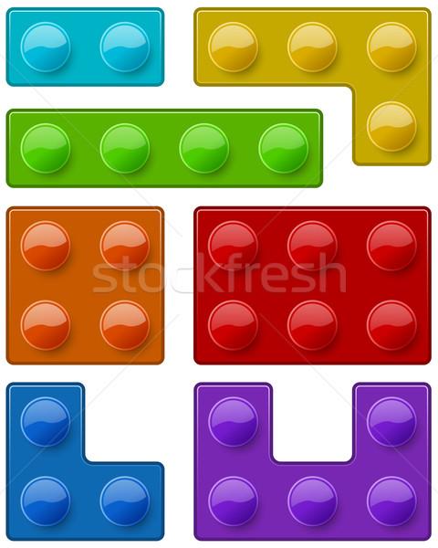 Construction toy block pieces template Stock photo © tuulijumala