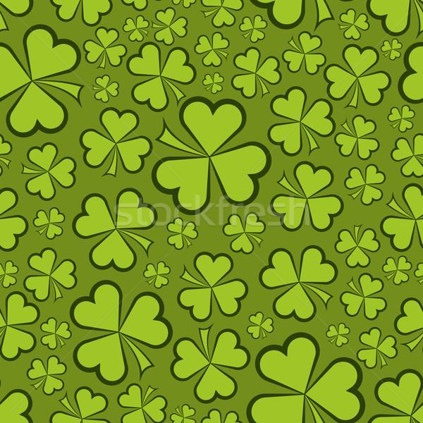 Végtelenített zöld shamrock formák vektor textúra Stock fotó © tuulijumala