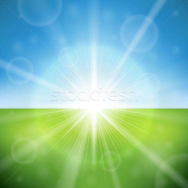 Yaz gün parlak güneş parlama vektör Stok fotoğraf © tuulijumala